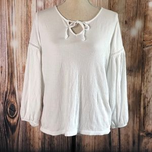 GAP Front Tie Long Bell Sleeves Soft Tunic Blouse